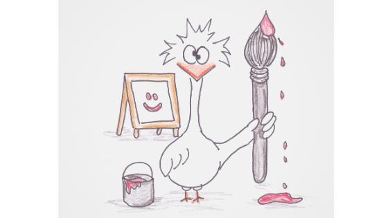 Skizze eines Comic Huhns mit Pinsel und Farbe